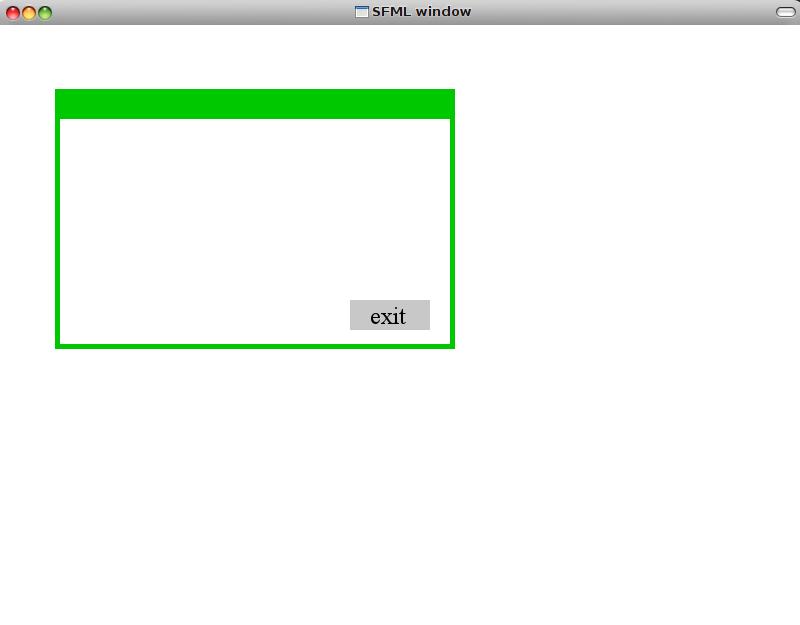 Скриншот окна с окном внутри реализованном на SFML